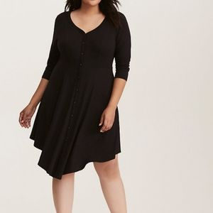 V-HEM KNIT SHIRT DRESS